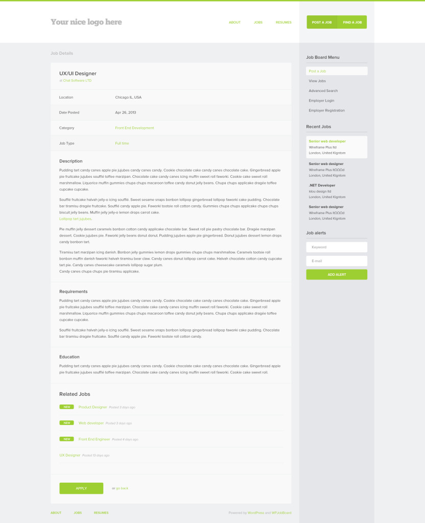 Job Details Page