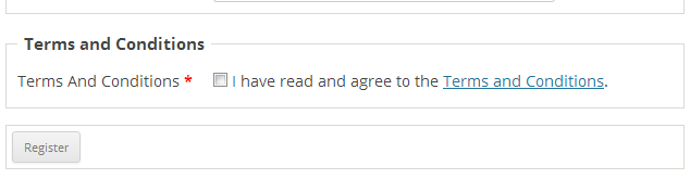 Terms of service checkbox that will appear.