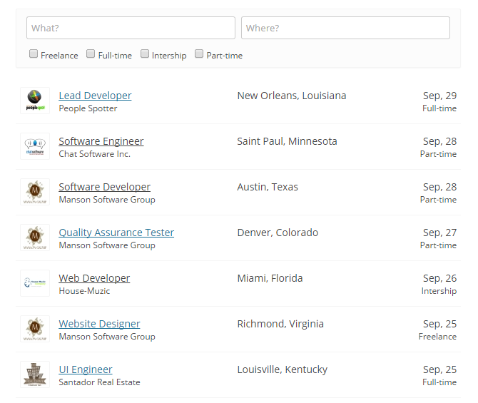 WPJobBoard 4.2.0 Jobs List with top search bar.