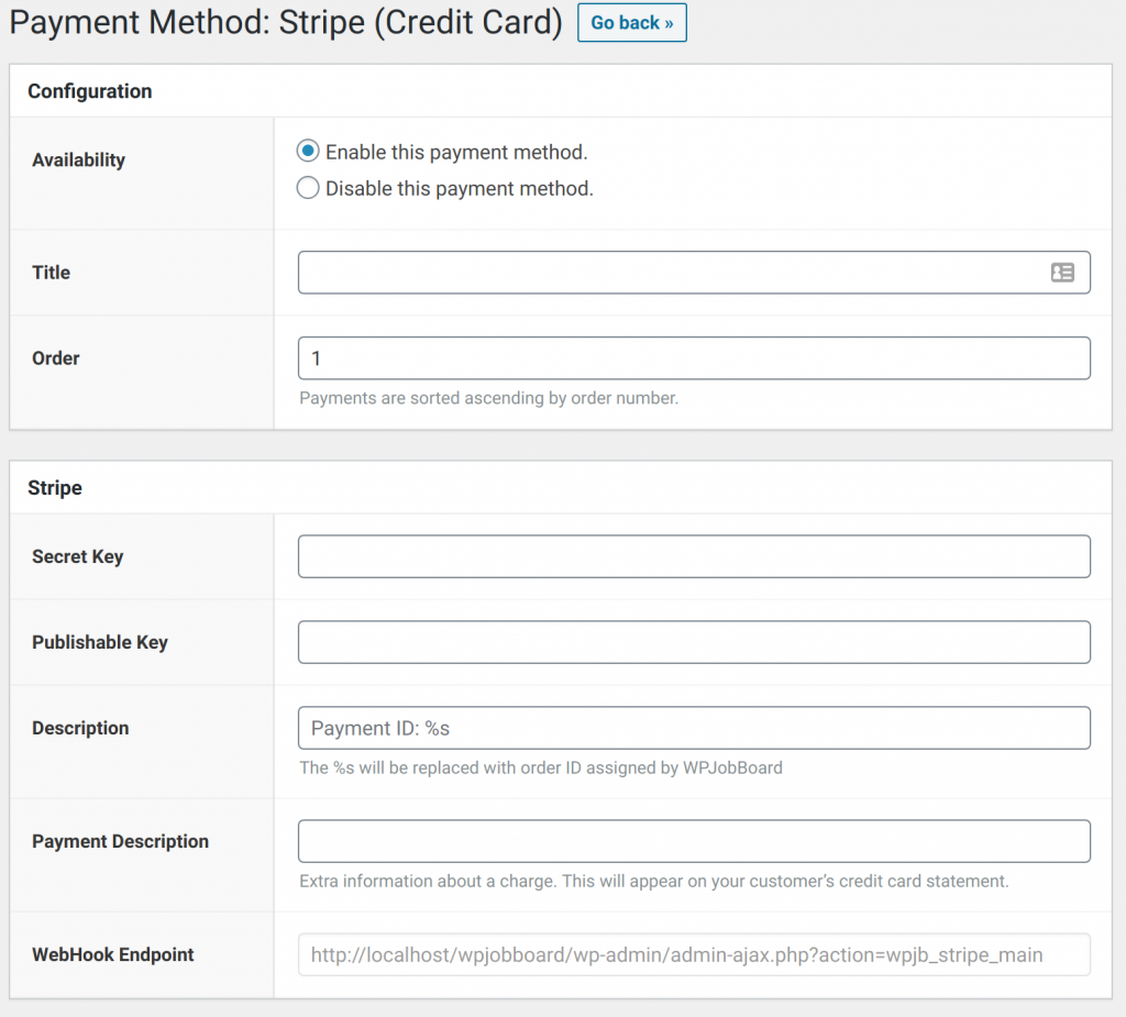 WPJobBoard Stripe Configuration Form