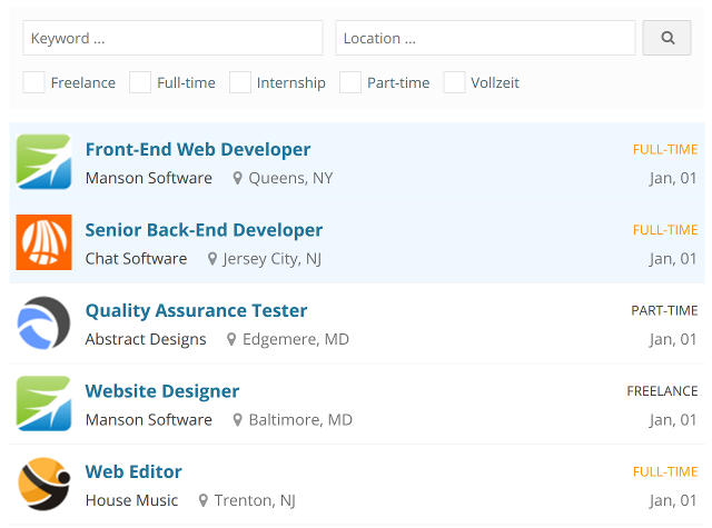 Jobs List in WPJobBoard