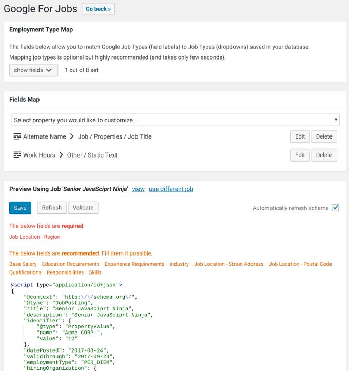 Google For Job Configuration