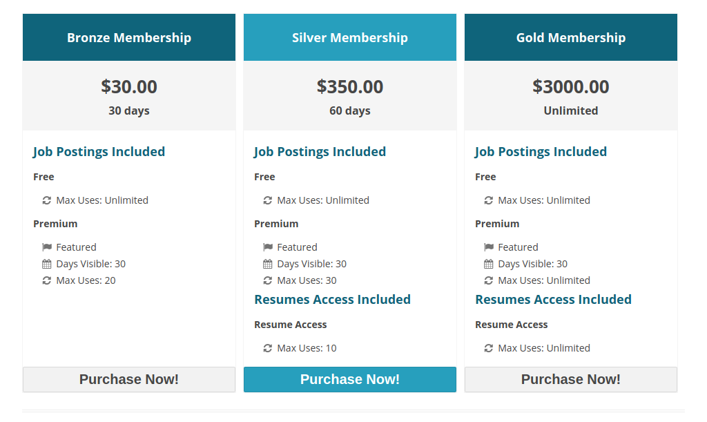 Membership purchase page.